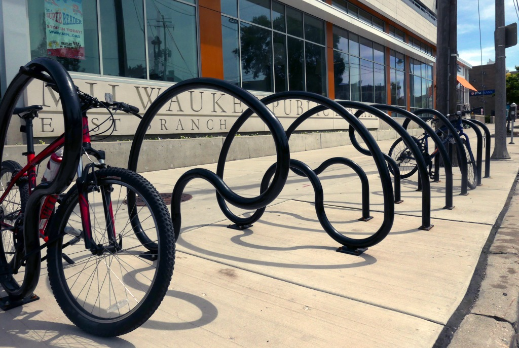 Custom bike racks in front of the East Branch Library on E. North Ave. Photo by Graham Kilmer.