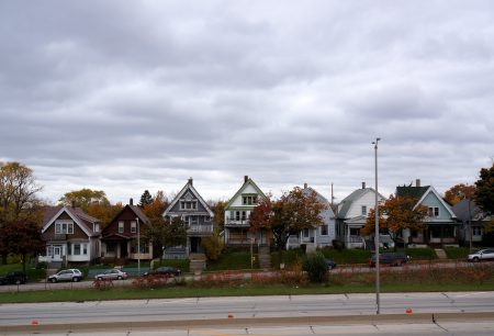 Houses on the 3300 block of North 8th Street are similar to the North Side homes razed to build I-43. Photo by Adam Carr.
