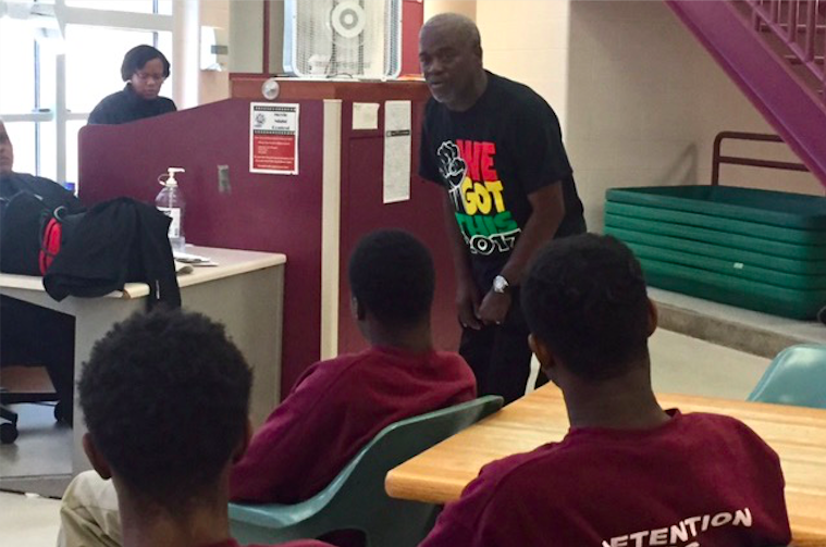 Andre Lee Ellis meets with young inmates at the Vel R. Phillips Juvenile Justice Center for the first time. Photo by Carleen Ranfranz.