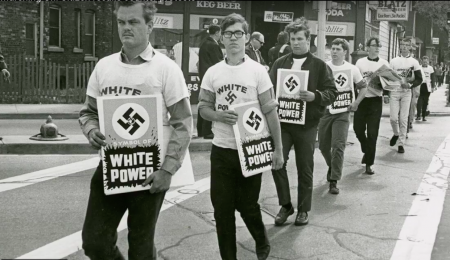 Nazis march along 16th St. at Forest Home on Sept. 23, 1967. Photo courtesy of Milwaukee Journal Sentinel and Milwaukee Public Library.