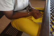 """This picture shows one of the plaintiffs in the class-action lawsuit tethered to a table in a Lincoln Hills security unit, according to an affidavit filed by ACLU attorney Larry Dupuis. The youth is """"on the belt,"""" meaning his wrists are handcuffed to a belt circling his waist."""