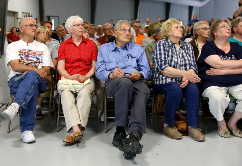 About 200 people attended the meeting at the Expo Hall to learn about the source and method of contamination in Kewaunee County's private well water. Photo by Coburn Dukehart of the Wisconsin Center for Investigative Journalism.