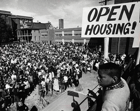 Open housing demonstrators gather at St. Boniface Church. Photo courtesy of Milwaukee Journal Sentinel and Historic Photo Collection, Milwaukee Public Library.