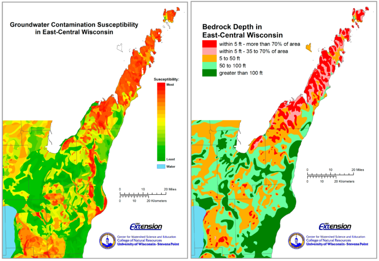 These maps show groundwater contamination susceptibility, left, and bedrock depth in east-central Wisconsin. Map from the University of Wisconsin-Extension / Center for Watershed Science and Education.