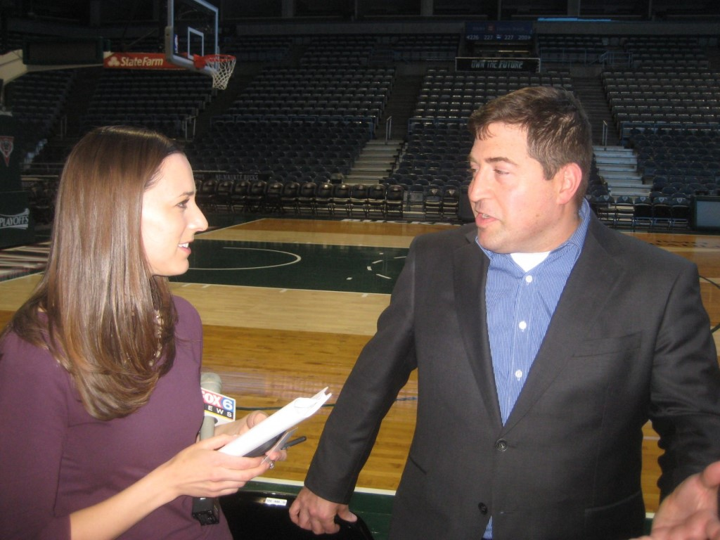 Fox 6 News interviews Peter Feigin. Photo taken by Michael Horne.