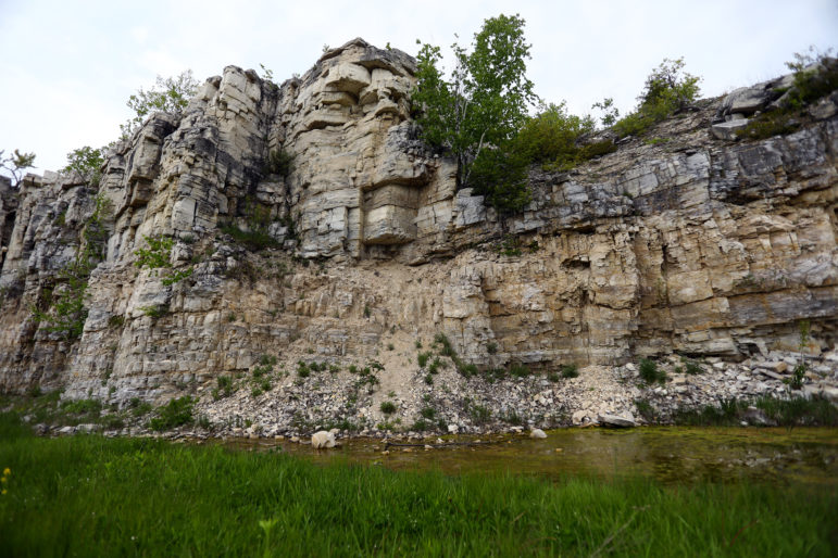 A karst cliff face is exposed at the George K. Pinney Park in southern Door County. The fractured bedrock is common to Door and Kewaunee counties, allowing contaminants on the surface to move rapidly through the vertical fractures into the groundwater. Photo by Coburn Dukehart of the Wisconsin Center for Investigative Journalism.