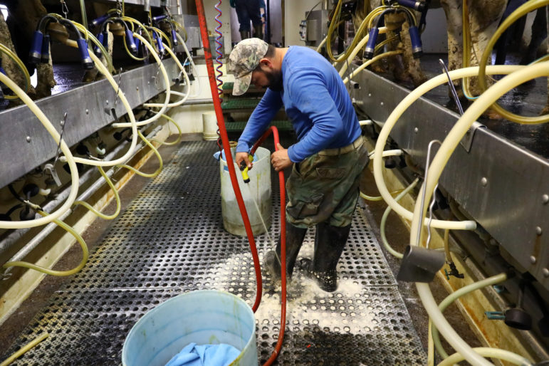 Miguel Hernandez hoses off his boots in the milking parlor at the end of his last shift after 16 years on a Pepin County dairy farm. He punched out at 1 p.m., as his final shift officially ended. Photo by Coburn Dukehart of the Wisconsin Center for Investigative Journalism.