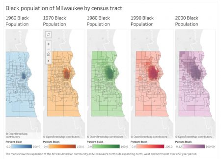 """Graphic by Jack Goods. Republished with permission from """"Marching On: 50 Years After the Milwaukee Marches,"""" a project of Professor Herbert Lowe's journalism capstone class at Marquette University's Diederich College of Communication. Click on the graphic for more details."""