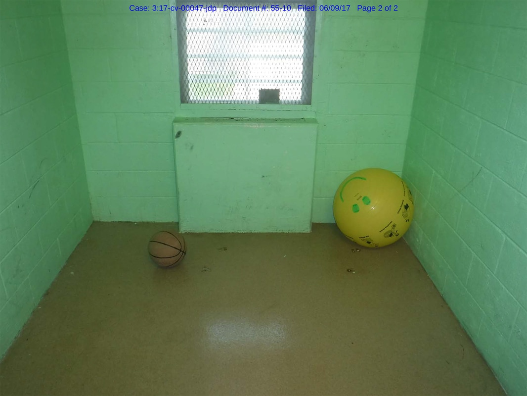 The state's defendants say youth in solitary are let out of their cells for recreation time. Here is a cell used as a recreation room in the security unit at Lincoln Hills.