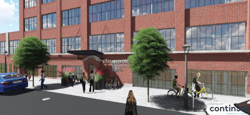 Welford Sanders Lofts. Rendering by Continuum Architects + Planners, SC.