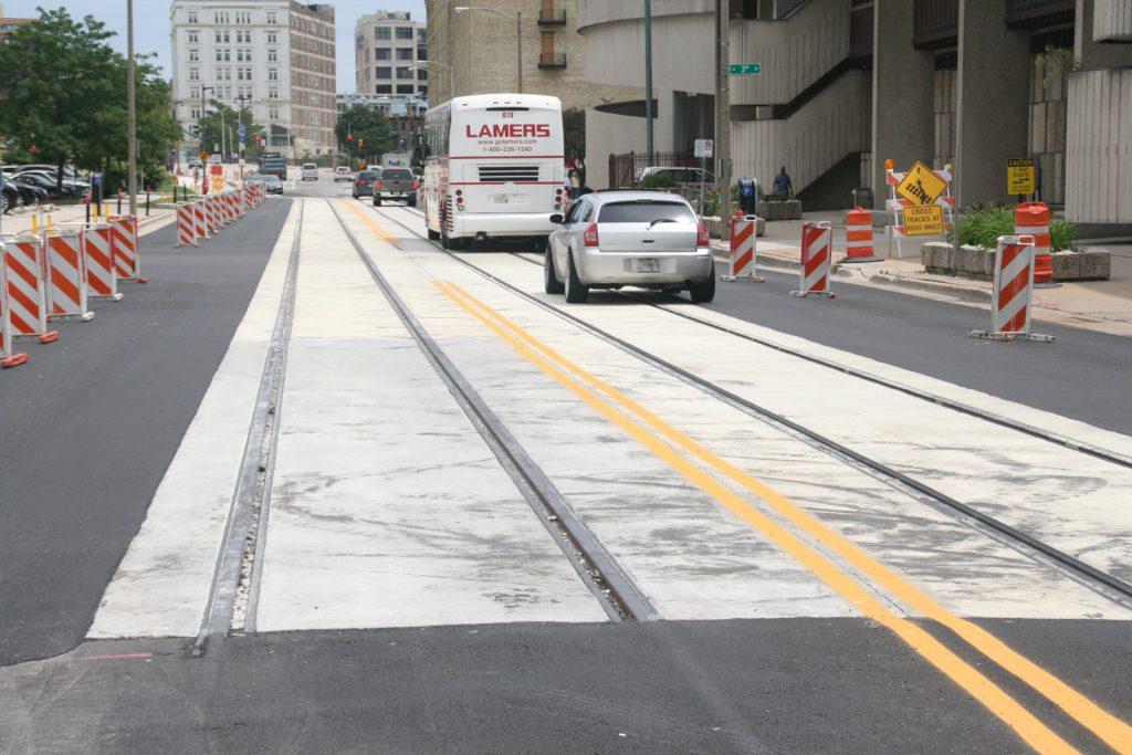 W. St. Paul Ave. Streetcar Track. Photo by Jeramey Jannene.