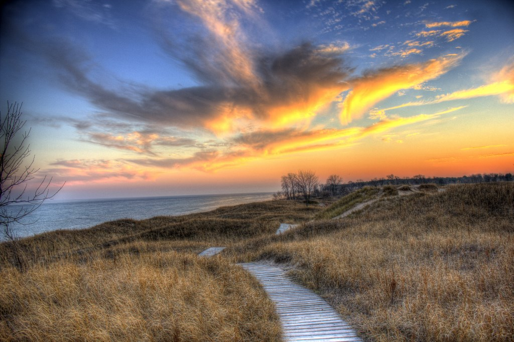 The bright clouds over the sand dune trails at Kohler-Andrae State Park, Wisconsin