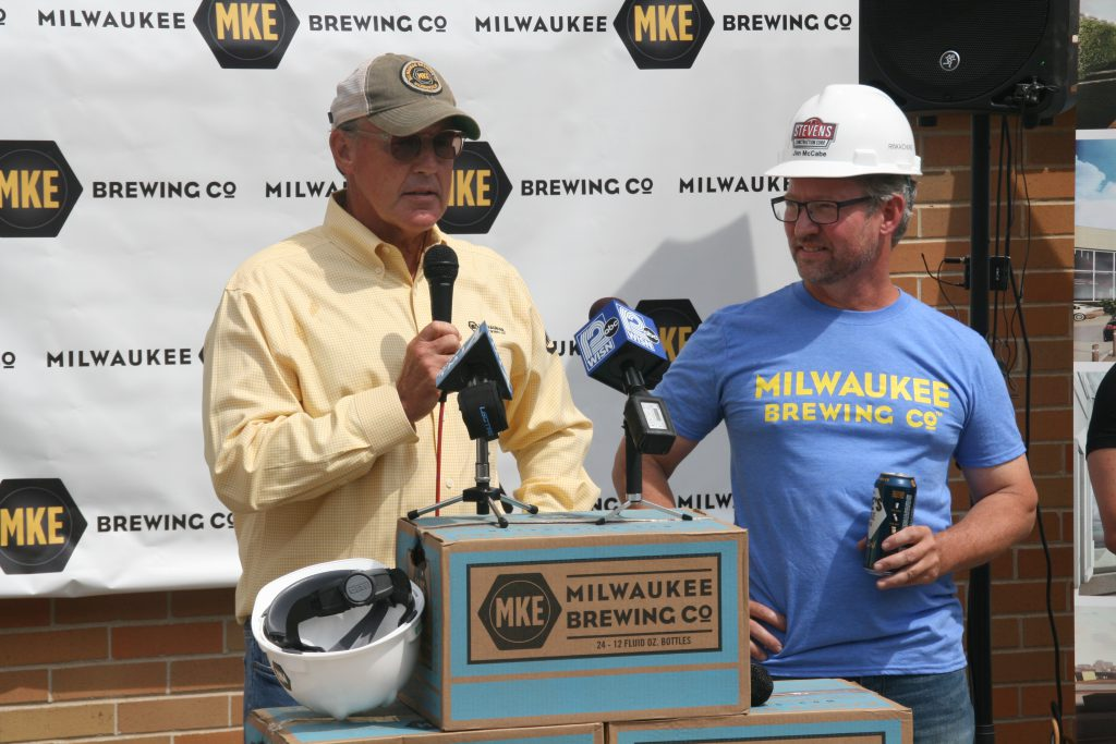 Jim Hughes and Milwaukee Brewing Co. CEO Jim McCabe. Photo by Jeramey Jannene.