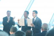 Foxconn chairman Terry Gou and Governor Scott Walker hold a memorandum of understanding. Photo by Jeramey Jannene.