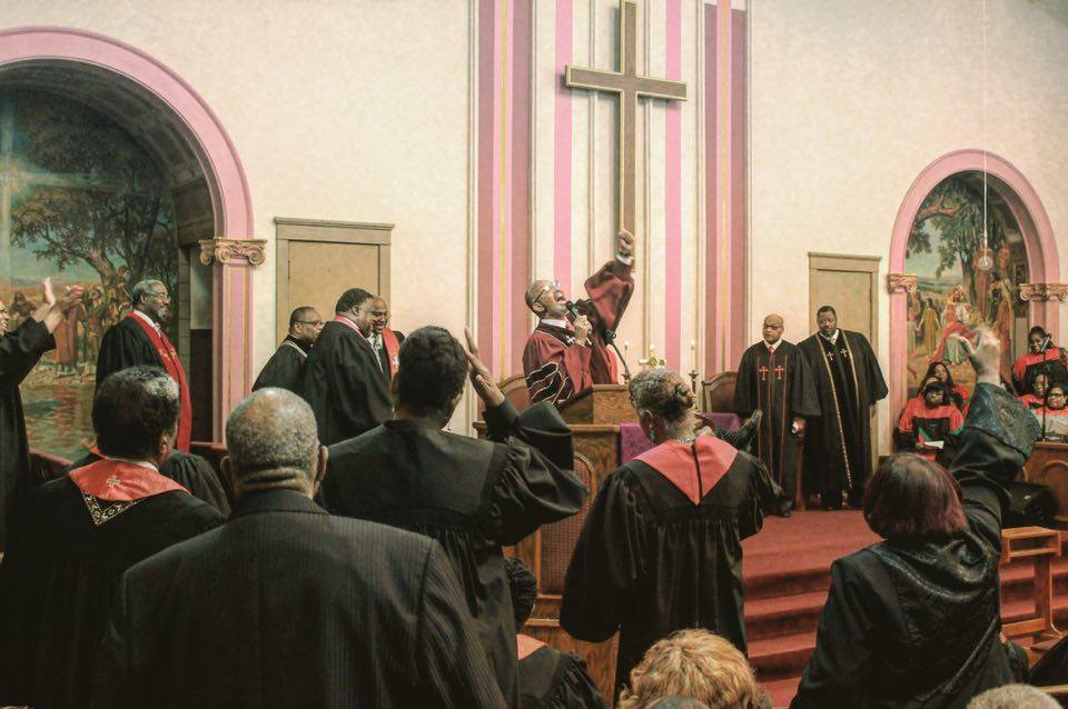 Local and national pastors and ministers preach at Tabernacle Community Baptist Church. Photo by Byron Johnson.