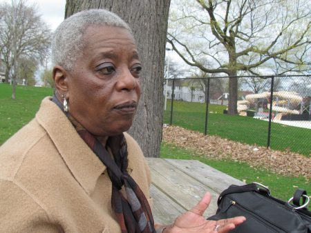 Gail Hicks sits at a picnic table in the South Side's Kozciuszko Park, often a destination of the 1967 marches. Photo by Jabril Faraj.