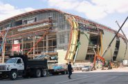 The new Milwaukee Bucks arena being constructed downtown is part of the city's building boom.Photo by Edgar Mendez.
