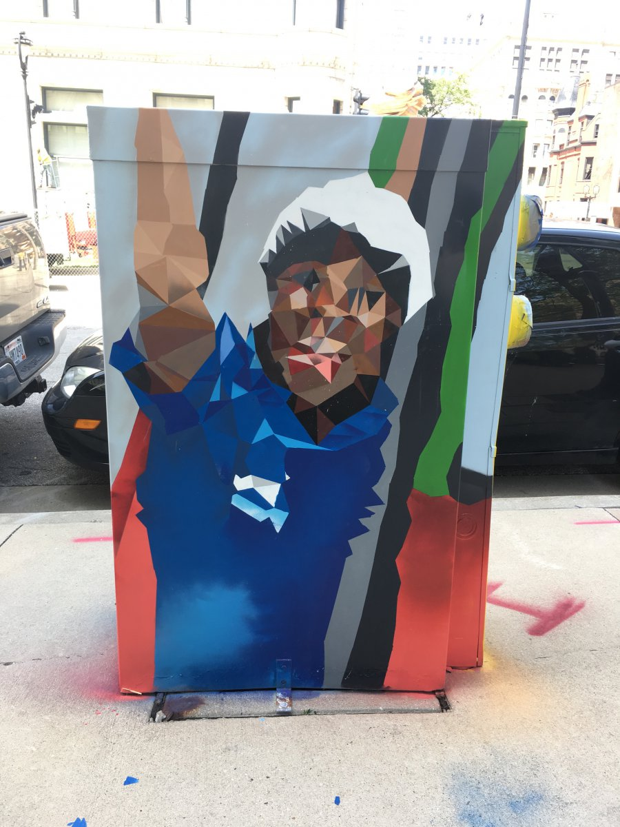 Utility Box Mural at 650 N. Jackson St. Photo taken by Alexandra Mucks.