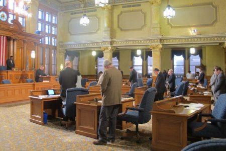 Milwaukee Common Council begins a recent meeting with a prayer. Photo by Julie Grace.