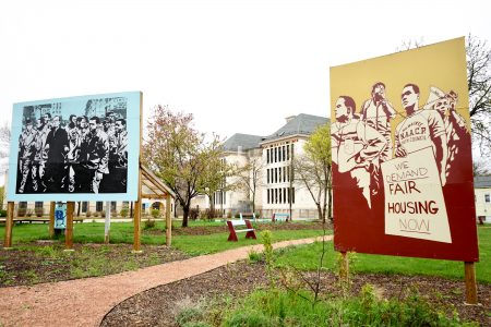 The murals at Martin Luther King Jr. Peace Place depicting NAACP Youth Council Commandos and the Rev. James Groppi. Photo by Adam Carr.