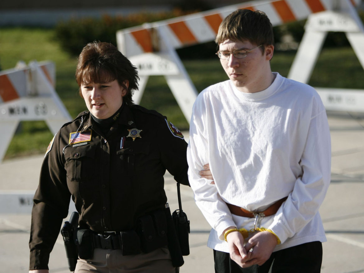 Manitowoc County Sheriff's Department Sgt. Joy Brixius escorts Brendan Dassey from the Manitowoc County Jail to the Manitowoc County Courthouse, April 19, 2007, in Manitowoc, Wisconsin. Dassey, 17, was charged with first-degree intentional homicide, mutilating a corpse and first-degree sexual assault in the death of 25-year-old Teresa Halbach on Oct. 31, 2005. In 2016 a Milwaukee judge overturned the conviction, finding that the shifting stories of the crime the young man gave during interrogation were mostly fed to him by the police. Photo by Dan Powers of the USA TODAY NETWORK-Wisconsin.