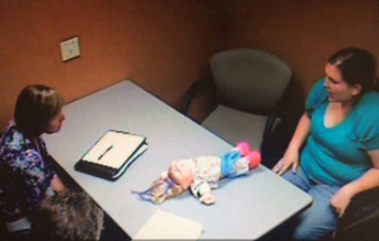 Dorothy Varallo-Speckeen is seen during a police interrogation in Moline, Illinois, on July 24, 2013. Looking back on that day, Varallo-Speckeen said she believes O'Brien coerced that confession. Screen shot from Moline, Illinois, police interview video.