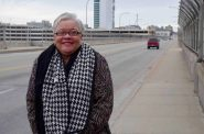 Claudette Harris, a former NAACP Youth Council member, stands on the 16th Street Viaduct. Photo by Jennifer Walter.