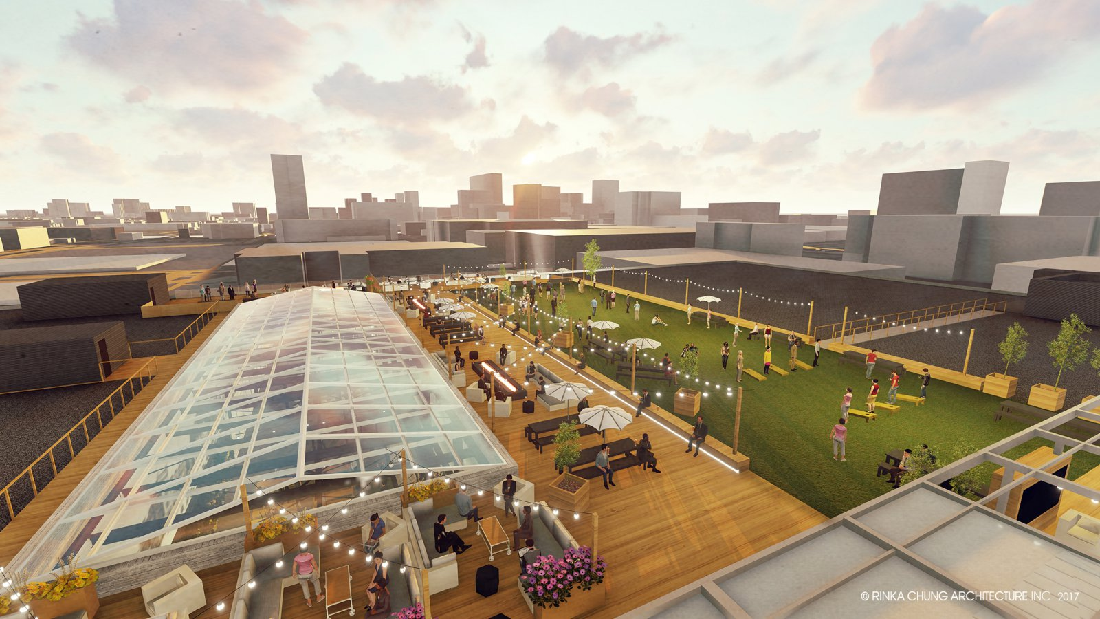 Rooftop at Milwaukee Brewing. Rendering by Rinka Chung Architecture.