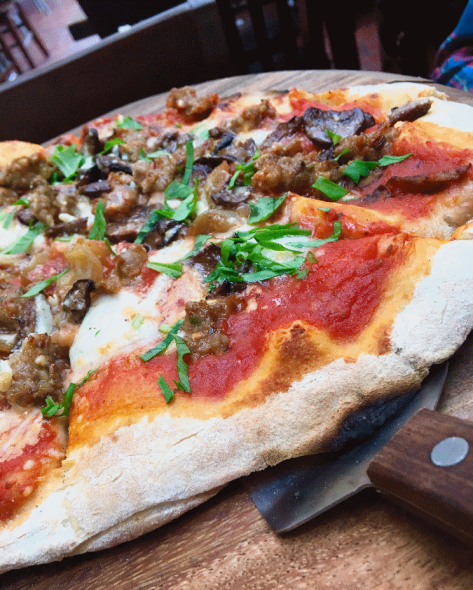 Fuggedaboutit pizza. Photo by Cari Taylor-Carlson.