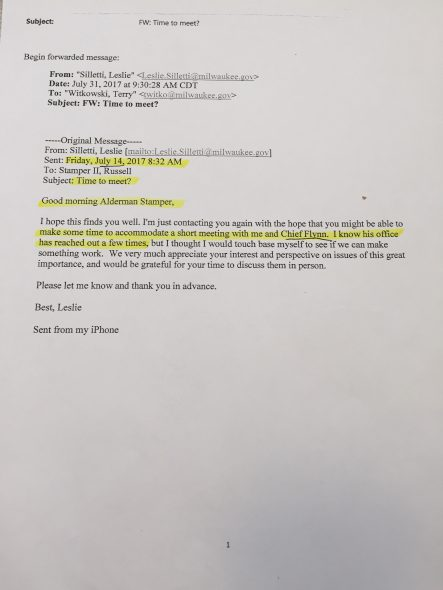 Email from Leslie Silletti to Ald. Russell Stamper II to arrange meeting with Chief Ed Flynn.