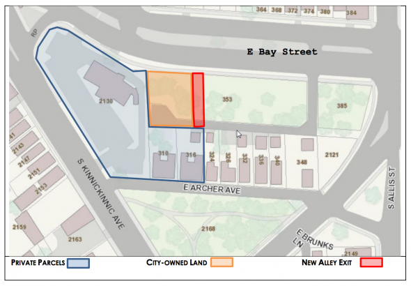 Lot 353 is the area Ald. Tony Zielinski is proposing to sell to the developer for parking.