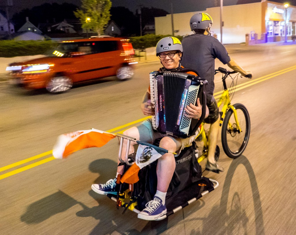 Special thanks to Don Turner for riding with us again AND finding two more accordion players who are also willing to play from the back of bicycles!