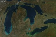A major storm in October 2011 brought up sediment and algae in the Great Lakes. Climate change could increase the number of events with heavy precipitation. Photo from the NASA Earth Observatory.