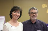 Susan Wright at Sojourner's 2017 Volunteer Appreciation party with a fellow hotline volunteer, Mark Lyday. Photo courtesy of the Nonprofit Center of Milwaukee.