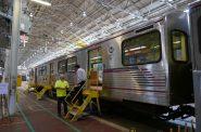Subway cars inside Talgo facility. Photo by Graham Kilmer.