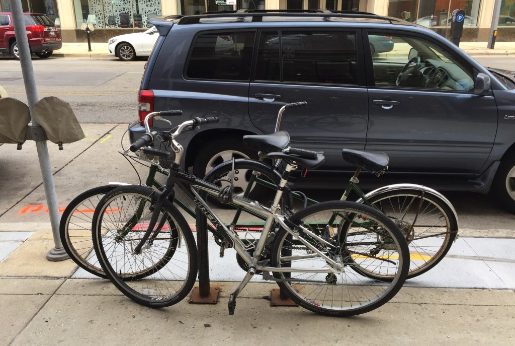 This bike rack on N. Milwaukee St. fills up regularly. Photo by Dave Reid.