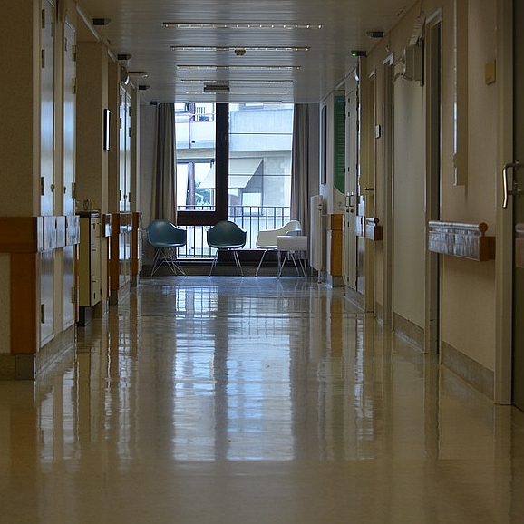 Hospital corridor. Photo from the Wisconsin Democracy Campaign.