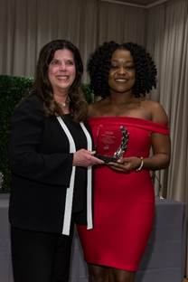 Pictured above, Nzemenoh accepts her award from AMA Foundation President-Elect Patricia Austin at the AMA annual meeting in Chicago June 9. The AMA Excellence in Medicine awards recognize physicians dedicated to care of underserved populations, volunteerism, community engagement and leadership. Photo by Jorge Norrick courtesy of the Medical College of Wisconsin.