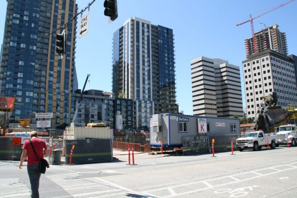 The new headquarters of Amazon under construction on the edge of the South Lake Union in downtown Seattle (the current headquarters are a short streetcar ride away). Photo taken August 6th, 2014 by Jeramey Jannene.
