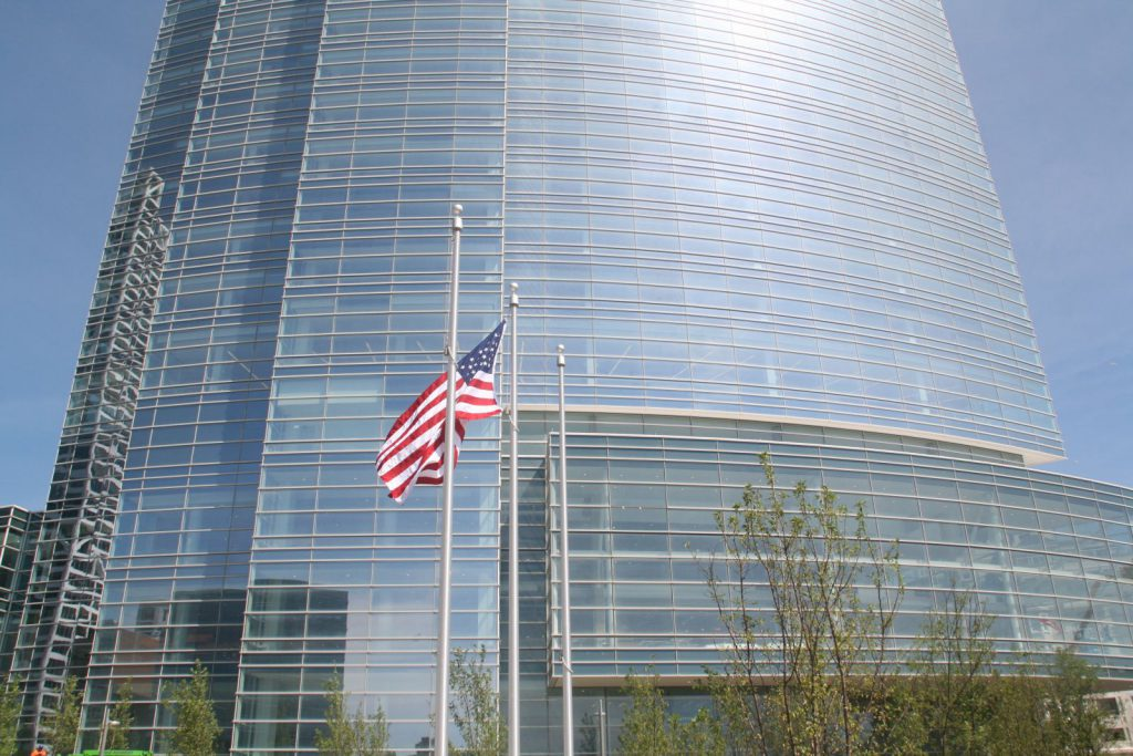 Newly raised American flag at Northwestern Mutual Tower and Commons. Photo by Jeramey Jannene.