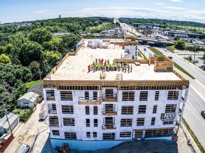 The 2100 Urban Residence Apartments Topped Out Roof in Wauwatosa