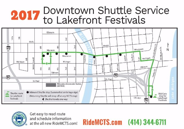 2017 Downtown Shuttle Service to Lakefront Festivals