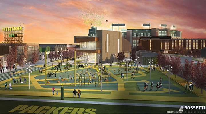 A section of Titletown. Rendering by ROSSETTI.