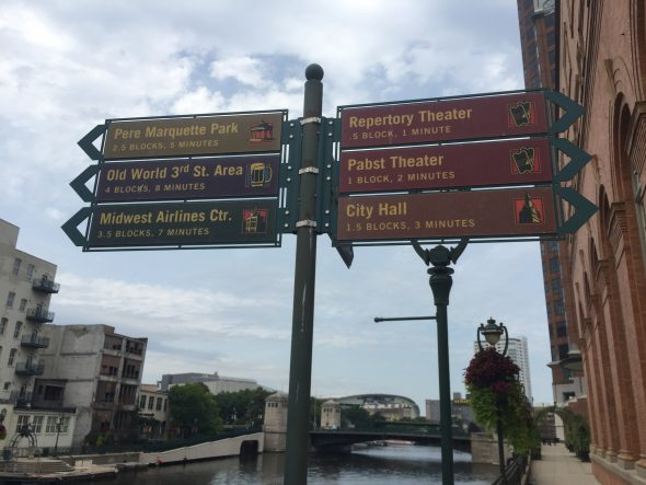 Milwaukee RiverWalk Wayfinding Signage. Photo by Jeramey Jannene.