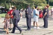 Officers chat with community members. Photo By Hailey Richards.