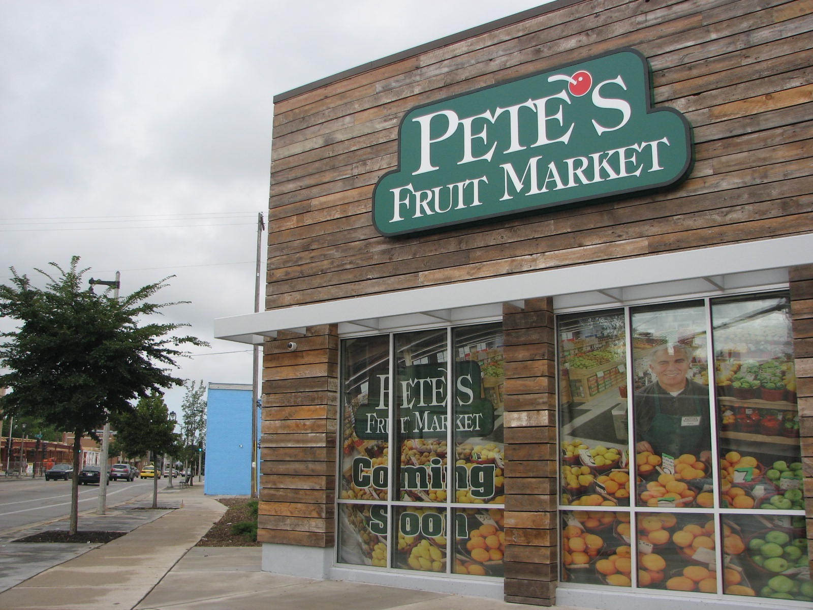 Pete's Fresh Fruit Market, on the corner of North Martin Luther King Drive and West North Avenue, is opening in Bronzeville on Sept. 14. Photo by Lydia Slattery.