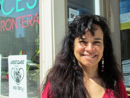 Christine Neumann-Ortiz stands outside the Voces offices on South 5th Street. Photo by Jabril Faraj.