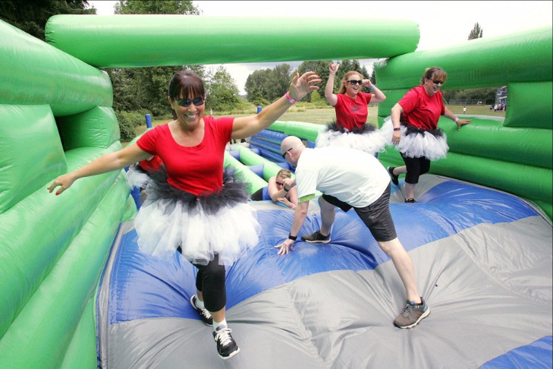 Kids and adults who want to feel like kids again can experience the Great Inflatable Race, Sept. 2 (Saturday of Labor Day weekend), at Veterans Park. Photo from Milwaukee County Parks.