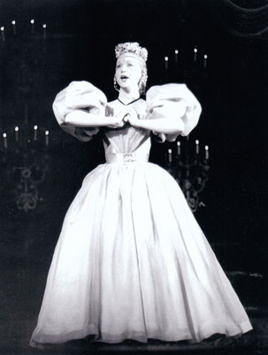 "Barbara Cook as Cunegonde singing ""Glitter and Be Gay"" in Candide - 1956"