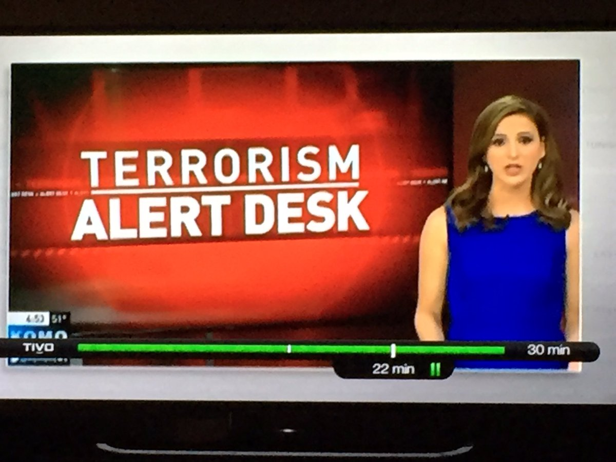 Terrorism Alert Desk. Photo by twitter user Renee Hobbs.